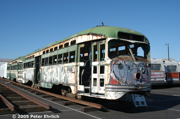 (139k, 720x478)<br><b>Country:</b> United States<br><b>City:</b> San Francisco/Bay Area, CA<br><b>System:</b> SF MUNI<br><b>Location:</b> Marin Division Depot <br><b>Car:</b> SF MUNI PCC Baby Ten (St. Louis Car Co, 1951)  1028/1026 <br><b>Photo by:</b> Peter Ehrlich<br><b>Date:</b> 9/5/2002<br><b>Notes:</b> PCCs 1028, 1026 (and 1027 and 1034) were repurchased from a private party for possible rebuilding.  They are stored at Marin Division.<br><b>Viewed (this week/total):</b> 2 / 3503