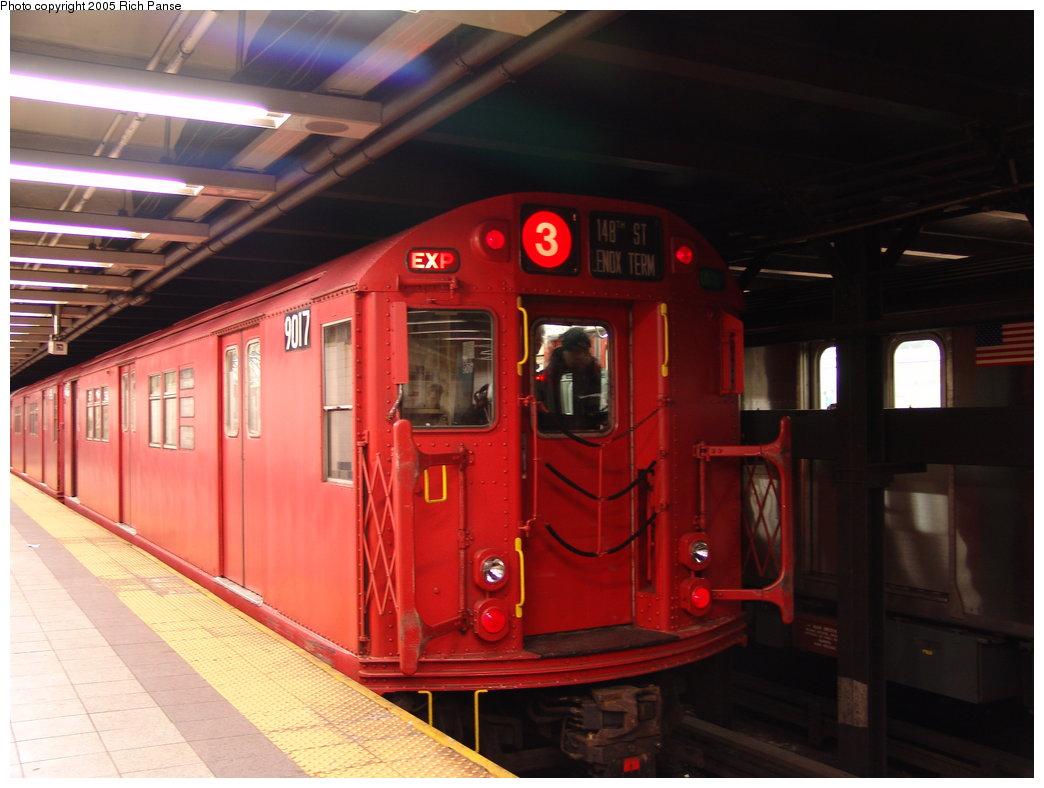(151k, 1044x788)<br><b>Country:</b> United States<br><b>City:</b> New York<br><b>System:</b> New York City Transit<br><b>Line:</b> IRT Brooklyn Line<br><b>Location:</b> Flatbush Avenue <br><b>Route:</b> Fan Trip<br><b>Car:</b> R-33 Main Line (St. Louis, 1962-63) 9017 <br><b>Photo by:</b> Richard Panse<br><b>Date:</b> 2/27/2005<br><b>Viewed (this week/total):</b> 0 / 6108
