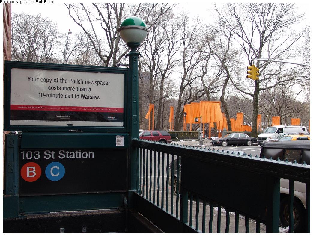 (254k, 1044x788)<br><b>Country:</b> United States<br><b>City:</b> New York<br><b>System:</b> New York City Transit<br><b>Line:</b> IND 8th Avenue Line<br><b>Location:</b> 103rd Street <br><b>Photo by:</b> Richard Panse<br><b>Date:</b> 2/28/2005<br><b>Artwork:</b> <i>The Gates</i>,  Christo (2004).<br><b>Viewed (this week/total):</b> 1 / 4732
