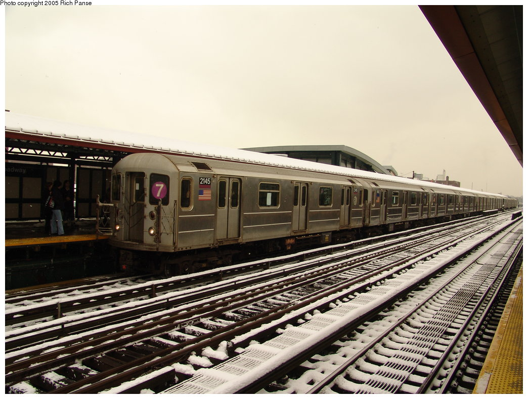 (209k, 1044x788)<br><b>Country:</b> United States<br><b>City:</b> New York<br><b>System:</b> New York City Transit<br><b>Line:</b> IRT Flushing Line<br><b>Location:</b> 74th Street/Broadway <br><b>Route:</b> 7<br><b>Car:</b> R-62A (Bombardier, 1984-1987)  2145 <br><b>Photo by:</b> Richard Panse<br><b>Date:</b> 3/1/2005<br><b>Viewed (this week/total):</b> 1 / 2593