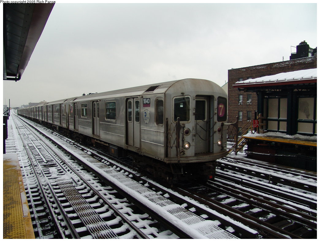 (202k, 1044x788)<br><b>Country:</b> United States<br><b>City:</b> New York<br><b>System:</b> New York City Transit<br><b>Line:</b> IRT Flushing Line<br><b>Location:</b> 74th Street/Broadway <br><b>Route:</b> 7<br><b>Car:</b> R-62A (Bombardier, 1984-1987)  1840 <br><b>Photo by:</b> Richard Panse<br><b>Date:</b> 3/1/2005<br><b>Viewed (this week/total):</b> 2 / 2500
