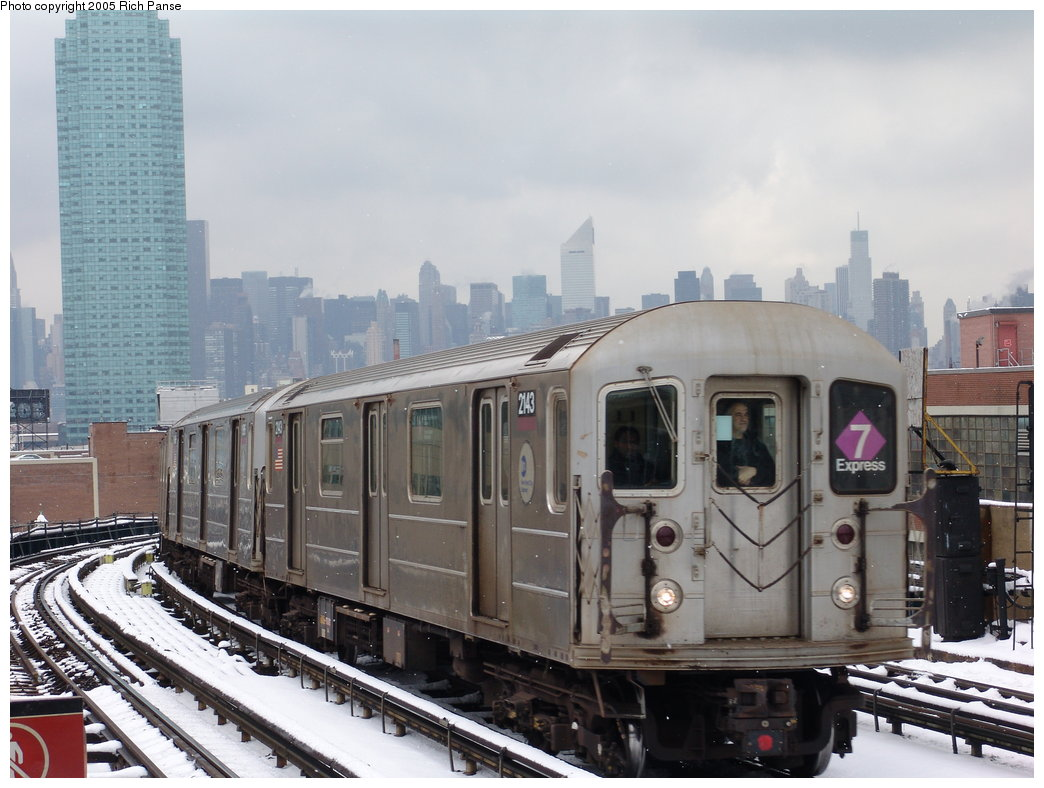 (171k, 1044x788)<br><b>Country:</b> United States<br><b>City:</b> New York<br><b>System:</b> New York City Transit<br><b>Line:</b> IRT Flushing Line<br><b>Location:</b> 33rd Street/Rawson Street <br><b>Route:</b> 7<br><b>Car:</b> R-62A (Bombardier, 1984-1987)  2143 <br><b>Photo by:</b> Richard Panse<br><b>Date:</b> 3/1/2005<br><b>Viewed (this week/total):</b> 1 / 3167