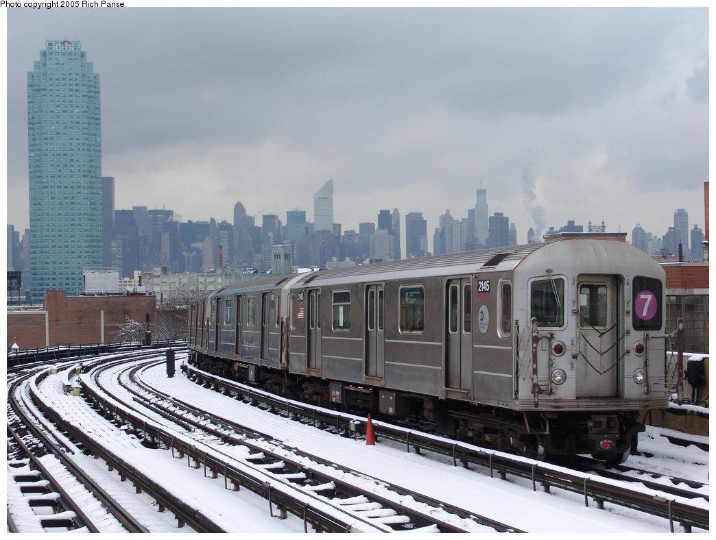 (179k, 1044x788)<br><b>Country:</b> United States<br><b>City:</b> New York<br><b>System:</b> New York City Transit<br><b>Line:</b> IRT Flushing Line<br><b>Location:</b> 33rd Street/Rawson Street <br><b>Route:</b> 7<br><b>Car:</b> R-62A (Bombardier, 1984-1987)  2145 <br><b>Photo by:</b> Richard Panse<br><b>Date:</b> 3/1/2005<br><b>Viewed (this week/total):</b> 0 / 2606