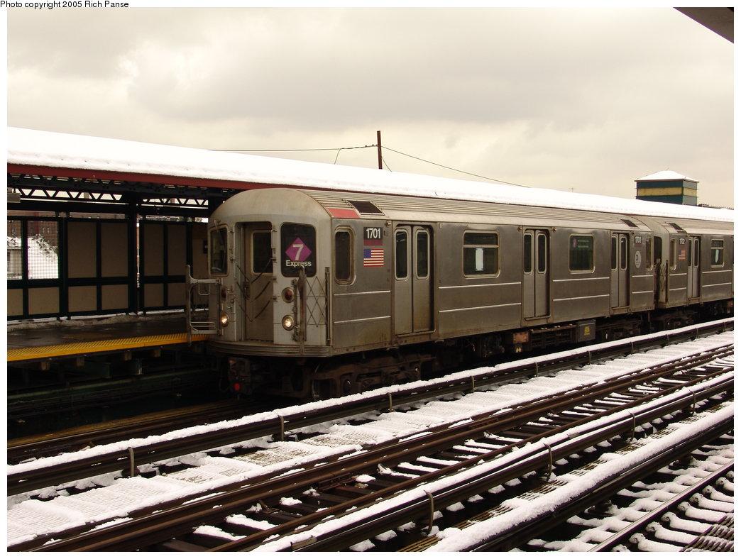 (191k, 1044x788)<br><b>Country:</b> United States<br><b>City:</b> New York<br><b>System:</b> New York City Transit<br><b>Line:</b> IRT Flushing Line<br><b>Location:</b> 74th Street/Broadway <br><b>Route:</b> 7<br><b>Car:</b> R-62A (Bombardier, 1984-1987)  1701 <br><b>Photo by:</b> Richard Panse<br><b>Date:</b> 3/1/2005<br><b>Viewed (this week/total):</b> 0 / 2555