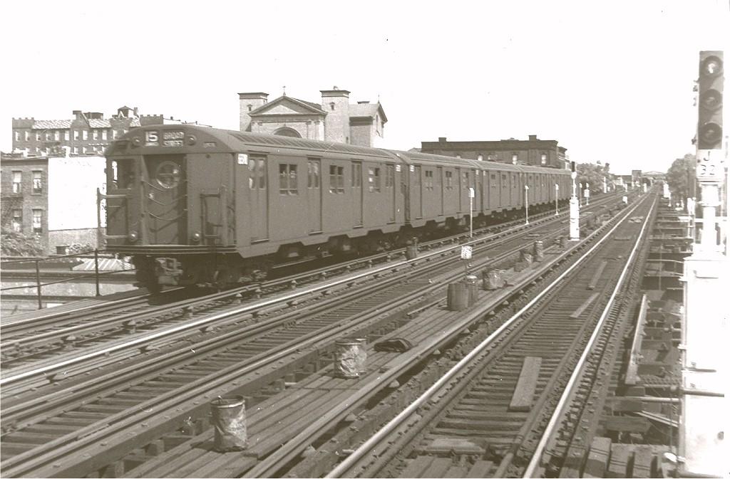 (167k, 1024x673)<br><b>Country:</b> United States<br><b>City:</b> New York<br><b>System:</b> New York City Transit<br><b>Line:</b> BMT Nassau Street/Jamaica Line<br><b>Location:</b> Chauncey Street <br><b>Route:</b> BMT 15<br><b>Car:</b> R-16 (American Car & Foundry, 1955) 6310 <br><b>Photo by:</b> Harry Pinsker<br><b>Date:</b> 7/8/1960<br><b>Viewed (this week/total):</b> 0 / 4381