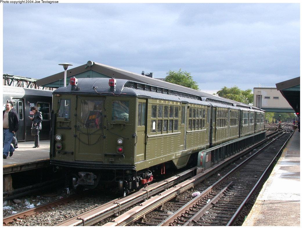 (216k, 1044x788)<br><b>Country:</b> United States<br><b>City:</b> New York<br><b>System:</b> New York City Transit<br><b>Line:</b> BMT Brighton Line<br><b>Location:</b> Kings Highway <br><b>Route:</b> Fan Trip<br><b>Car:</b> Low-V (Museum Train) 5443 <br><b>Photo by:</b> Joe Testagrose<br><b>Date:</b> 10/23/2004<br><b>Viewed (this week/total):</b> 3 / 3077