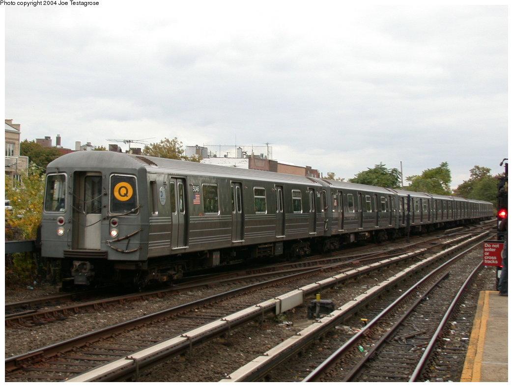 (183k, 1044x788)<br><b>Country:</b> United States<br><b>City:</b> New York<br><b>System:</b> New York City Transit<br><b>Line:</b> BMT Brighton Line<br><b>Location:</b> Kings Highway <br><b>Route:</b> Q<br><b>Car:</b> R-68A (Kawasaki, 1988-1989)  5046 <br><b>Photo by:</b> Joe Testagrose<br><b>Date:</b> 10/23/2004<br><b>Viewed (this week/total):</b> 0 / 3361