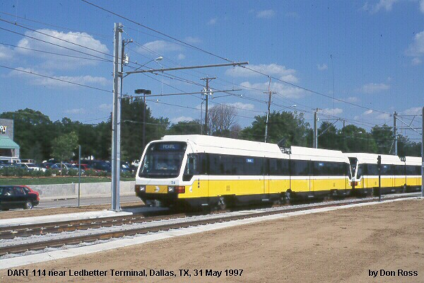 (85k, 600x400)<br><b>Country:</b> United States<br><b>City:</b> Dallas, TX<br><b>System:</b> DART<br><b>Line:</b> DART (Dallas) Blue Line Branches<br><b>Location:</b> Ledbetter <br><b>Car:</b> DART 114 <br><b>Photo by:</b> Don Ross<br><b>Collection of:</b> Joe Testagrose<br><b>Date:</b> 5/21/1997<br><b>Viewed (this week/total):</b> 0 / 1637
