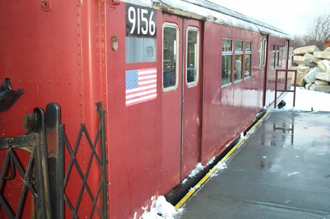 (35k, 480x319)<br><b>Country:</b> United States<br><b>City:</b> New York<br><b>System:</b> New York City Transit<br><b>Location:</b> NYPD Emergency Services training facility, Floyd Bennett Field<br><b>Car:</b> R-33 Main Line (St. Louis, 1962-63) 9156 <br><b>Photo by:</b> J. Dresner<br><b>Date:</b> 3/2/2005<br><b>Viewed (this week/total):</b> 1 / 5352
