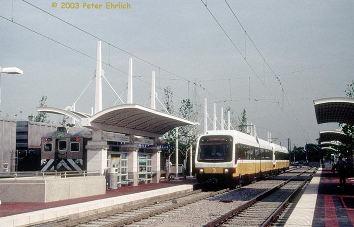 (139k, 720x462)<br><b>Country:</b> United States<br><b>City:</b> Dallas, TX<br><b>System:</b> DART<br><b>Line:</b> DART (Dallas) Red Line/Downtown Trunk<br><b>Location:</b> Union Station <br><b>Car:</b> DART 126 <br><b>Photo by:</b> Peter Ehrlich<br><b>Date:</b> 8/5/1998<br><b>Notes:</b> With TRE 2009<br><b>Viewed (this week/total):</b> 0 / 1410