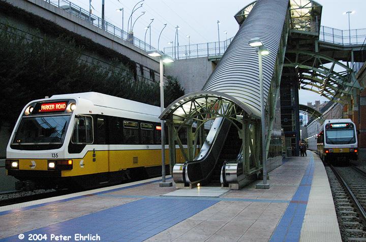 (201k, 720x478)<br><b>Country:</b> United States<br><b>City:</b> Dallas, TX<br><b>System:</b> DART<br><b>Line:</b> DART (Dallas) Red Line/Downtown Trunk<br><b>Location:</b> Mockingbird <br><b>Car:</b> DART 135/123 <br><b>Photo by:</b> Peter Ehrlich<br><b>Date:</b> 2/8/2004<br><b>Viewed (this week/total):</b> 0 / 1967