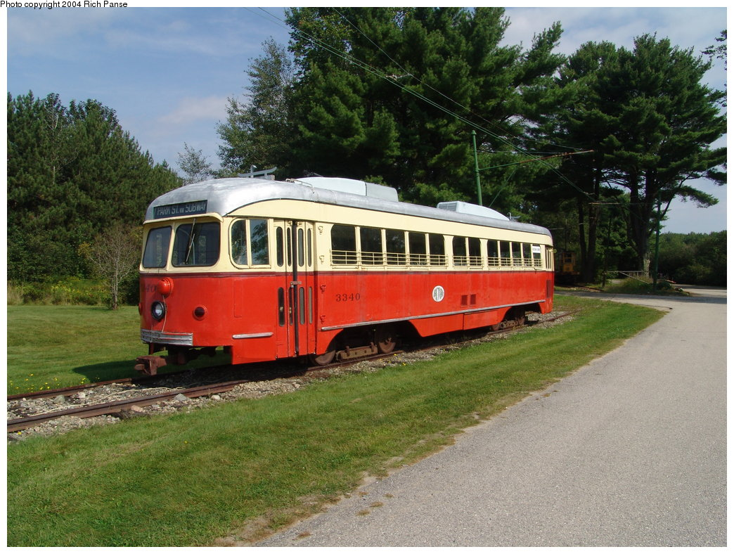 (244k, 1044x788)<br><b>Country:</b> United States<br><b>City:</b> Kennebunk, ME<br><b>System:</b> Seashore Trolley Museum <br><b>Car:</b> MBTA/BSRy PCC Dallas Double End (Pullman-Standard, 1945)  3340 <br><b>Photo by:</b> Richard Panse<br><b>Date:</b> 9/4/2004<br><b>Notes:</b> Former Dallas Railway & Terminal 615<br><b>Viewed (this week/total):</b> 2 / 3134