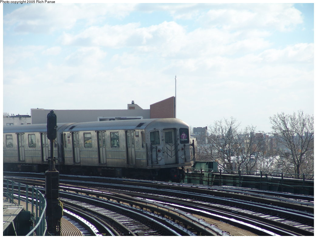 (175k, 1044x788)<br><b>Country:</b> United States<br><b>City:</b> New York<br><b>System:</b> New York City Transit<br><b>Line:</b> IRT Flushing Line<br><b>Location:</b> 46th Street/Bliss Street <br><b>Route:</b> 7<br><b>Car:</b> R-62A (Bombardier, 1984-1987)  1710 <br><b>Photo by:</b> Richard Panse<br><b>Date:</b> 3/9/2005<br><b>Viewed (this week/total):</b> 0 / 3437