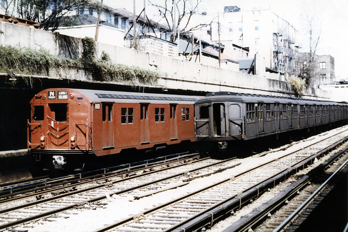 (457k, 1024x683)<br><b>Country:</b> United States<br><b>City:</b> New York<br><b>System:</b> New York City Transit<br><b>Line:</b> BMT Sea Beach Line<br><b>Location:</b> Bay Parkway (22nd Avenue) <br><b>Route:</b> N<br><b>Car:</b> R-27 (St. Louis, 1960)  8101 <br><b>Collection of:</b> David Pirmann<br><b>Viewed (this week/total):</b> 2 / 4101