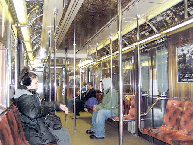 (163k, 640x480)<br><b>Country:</b> United States<br><b>City:</b> New York<br><b>System:</b> New York City Transit<br><b>Line:</b> IRT Times Square-Grand Central Shuttle<br><b>Location:</b> Grand Central <br><b>Route:</b> S<br><b>Car:</b> R-62A (Bombardier, 1984-1987)  1930 <br><b>Photo by:</b> Irwin Markowitz<br><b>Date:</b> 3/11/2005<br><b>Notes:</b> Car dressed up as a promotion for the HBO series <i>Deadwood</i>.<br><b>Viewed (this week/total):</b> 0 / 4611