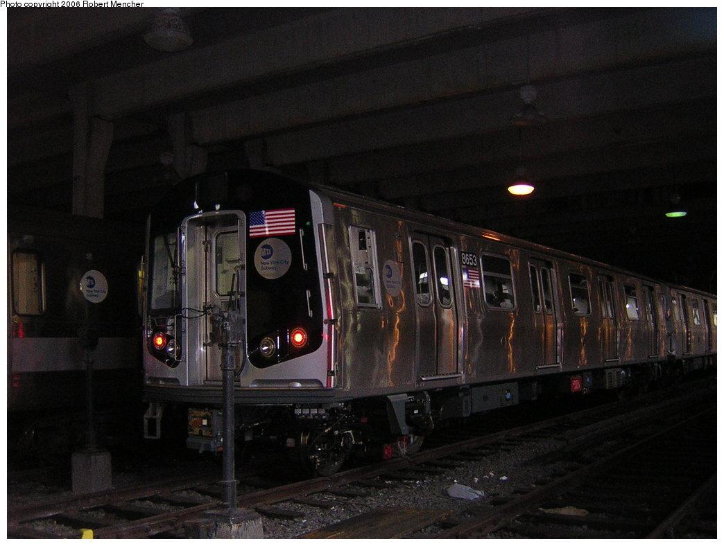 (172k, 1044x788)<br><b>Country:</b> United States<br><b>City:</b> New York<br><b>System:</b> New York City Transit<br><b>Location:</b> Pitkin Yard/Shops<br><b>Car:</b> R-160A-2 (Alstom, 2005-2008, 5 car sets)  8653 <br><b>Photo by:</b> Robert Mencher<br><b>Date:</b> 3/25/2006<br><b>Viewed (this week/total):</b> 2 / 4584
