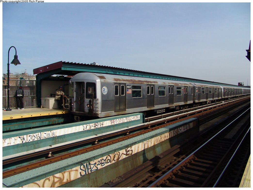 (184k, 1044x788)<br><b>Country:</b> United States<br><b>City:</b> New York<br><b>System:</b> New York City Transit<br><b>Line:</b> BMT Nassau Street/Jamaica Line<br><b>Location:</b> Gates Avenue <br><b>Route:</b> J<br><b>Car:</b> R-42 (St. Louis, 1969-1970)  4837 <br><b>Photo by:</b> Richard Panse<br><b>Date:</b> 3/16/2005<br><b>Viewed (this week/total):</b> 4 / 3242