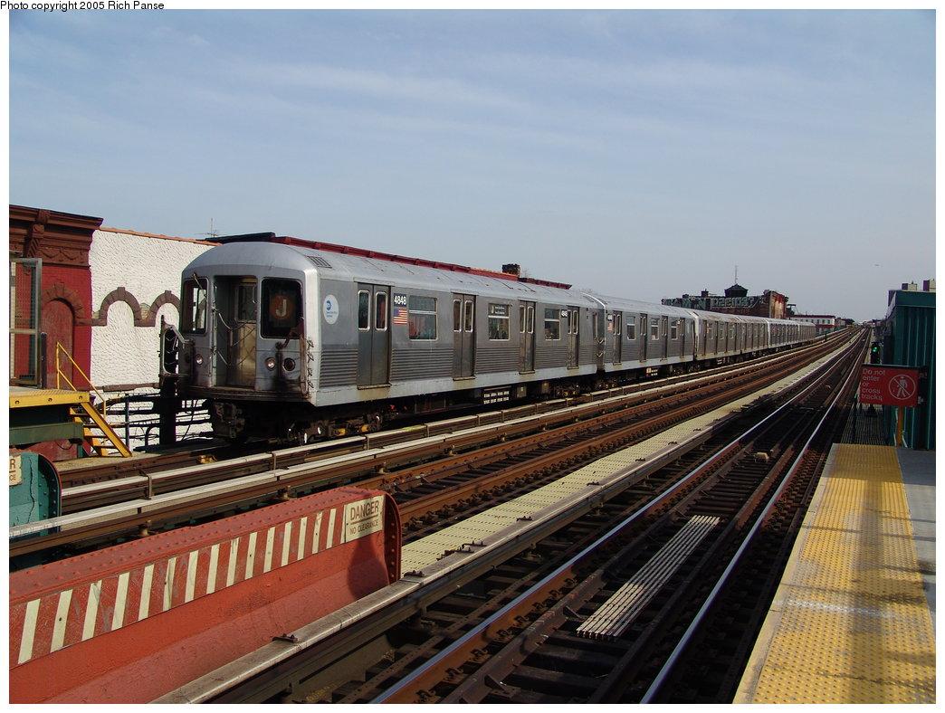 (197k, 1044x788)<br><b>Country:</b> United States<br><b>City:</b> New York<br><b>System:</b> New York City Transit<br><b>Line:</b> BMT Nassau Street/Jamaica Line<br><b>Location:</b> Halsey Street <br><b>Route:</b> J<br><b>Car:</b> R-42 (St. Louis, 1969-1970)  4848 <br><b>Photo by:</b> Richard Panse<br><b>Date:</b> 3/16/2005<br><b>Viewed (this week/total):</b> 1 / 3405