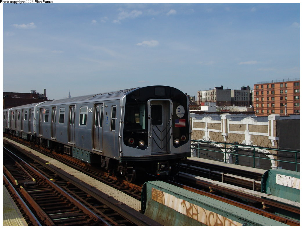 (165k, 1044x788)<br><b>Country:</b> United States<br><b>City:</b> New York<br><b>System:</b> New York City Transit<br><b>Line:</b> BMT Nassau Street/Jamaica Line<br><b>Location:</b> Gates Avenue <br><b>Route:</b> Test<br><b>Car:</b> R-143 (Kawasaki, 2001-2002) 8240 <br><b>Photo by:</b> Richard Panse<br><b>Date:</b> 3/16/2005<br><b>Viewed (this week/total):</b> 2 / 4713
