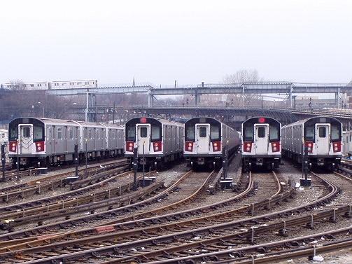 (101k, 503x377)<br><b>Country:</b> United States<br><b>City:</b> New York<br><b>System:</b> New York City Transit<br><b>Location:</b> Westchester Yard<br><b>Car:</b> R-142 or R-142A (Number Unknown)  <br><b>Photo by:</b> Irwin Markowitz<br><b>Date:</b> 3/20/2005<br><b>Viewed (this week/total):</b> 3 / 6292