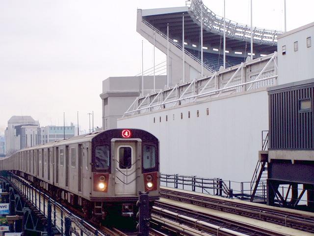 (124k, 640x480)<br><b>Country:</b> United States<br><b>City:</b> New York<br><b>System:</b> New York City Transit<br><b>Line:</b> IRT Woodlawn Line<br><b>Location:</b> 161st Street/River Avenue (Yankee Stadium) <br><b>Route:</b> 4<br><b>Car:</b> R-142 or R-142A (Number Unknown)  <br><b>Photo by:</b> Irwin Markowitz<br><b>Date:</b> 3/20/2005<br><b>Viewed (this week/total):</b> 0 / 5055