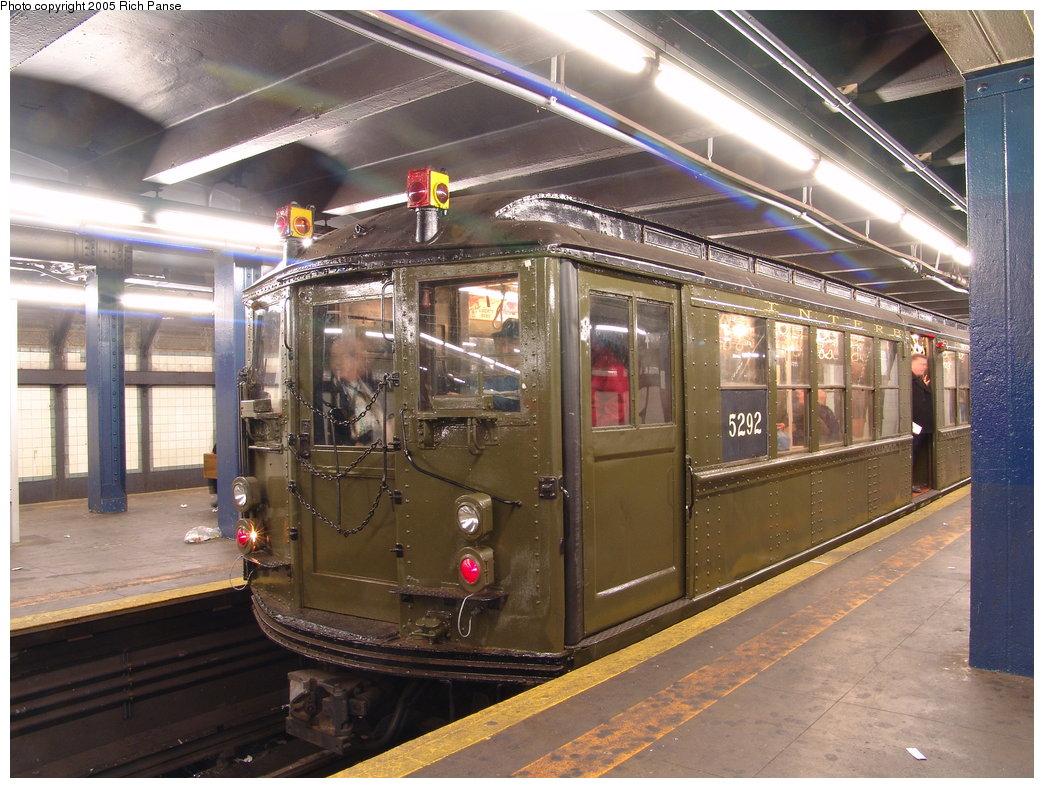 (218k, 1044x788)<br><b>Country:</b> United States<br><b>City:</b> New York<br><b>System:</b> New York City Transit<br><b>Line:</b> IRT Woodlawn Line<br><b>Location:</b> 149th Street/Grand Concourse <br><b>Route:</b> Fan Trip<br><b>Car:</b> Low-V (Museum Train) 5292 <br><b>Photo by:</b> Richard Panse<br><b>Date:</b> 3/20/2005<br><b>Viewed (this week/total):</b> 0 / 3360