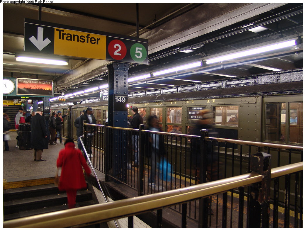 (218k, 1044x788)<br><b>Country:</b> United States<br><b>City:</b> New York<br><b>System:</b> New York City Transit<br><b>Line:</b> IRT Woodlawn Line<br><b>Location:</b> 149th Street/Grand Concourse <br><b>Route:</b> Fan Trip<br><b>Car:</b> Low-V (Museum Train)  <br><b>Photo by:</b> Richard Panse<br><b>Date:</b> 3/20/2005<br><b>Viewed (this week/total):</b> 0 / 4963