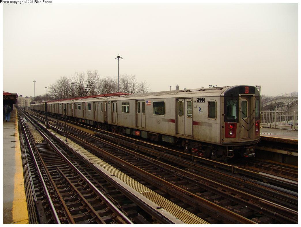 (177k, 1044x788)<br><b>Country:</b> United States<br><b>City:</b> New York<br><b>System:</b> New York City Transit<br><b>Line:</b> IRT Woodlawn Line<br><b>Location:</b> Bedford Park Boulevard <br><b>Route:</b> 4<br><b>Car:</b> R-142 (Option Order, Bombardier, 2002-2003)  1235 <br><b>Photo by:</b> Richard Panse<br><b>Date:</b> 3/20/2005<br><b>Viewed (this week/total):</b> 1 / 4010