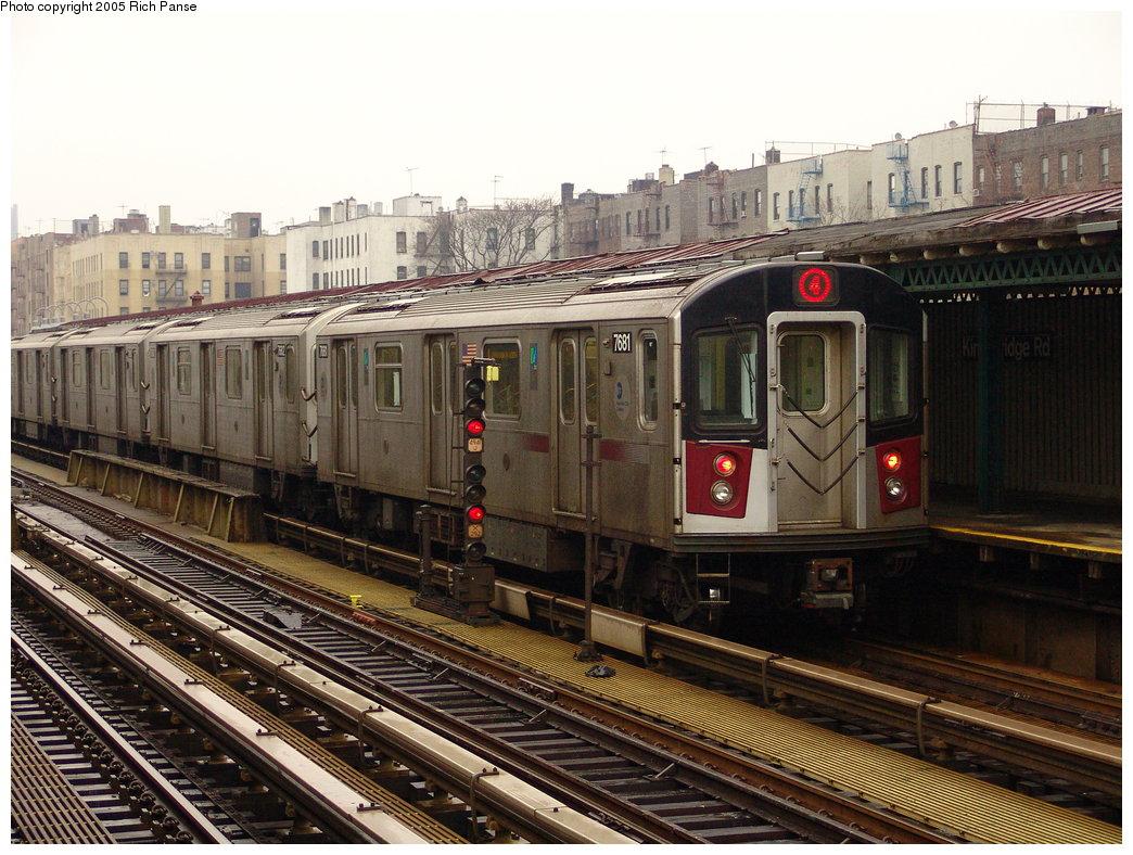 (225k, 1044x788)<br><b>Country:</b> United States<br><b>City:</b> New York<br><b>System:</b> New York City Transit<br><b>Line:</b> IRT Woodlawn Line<br><b>Location:</b> Kingsbridge Road <br><b>Route:</b> 4<br><b>Car:</b> R-142A (Option Order, Kawasaki, 2002-2003)  7681 <br><b>Photo by:</b> Richard Panse<br><b>Date:</b> 3/20/2005<br><b>Viewed (this week/total):</b> 0 / 3696