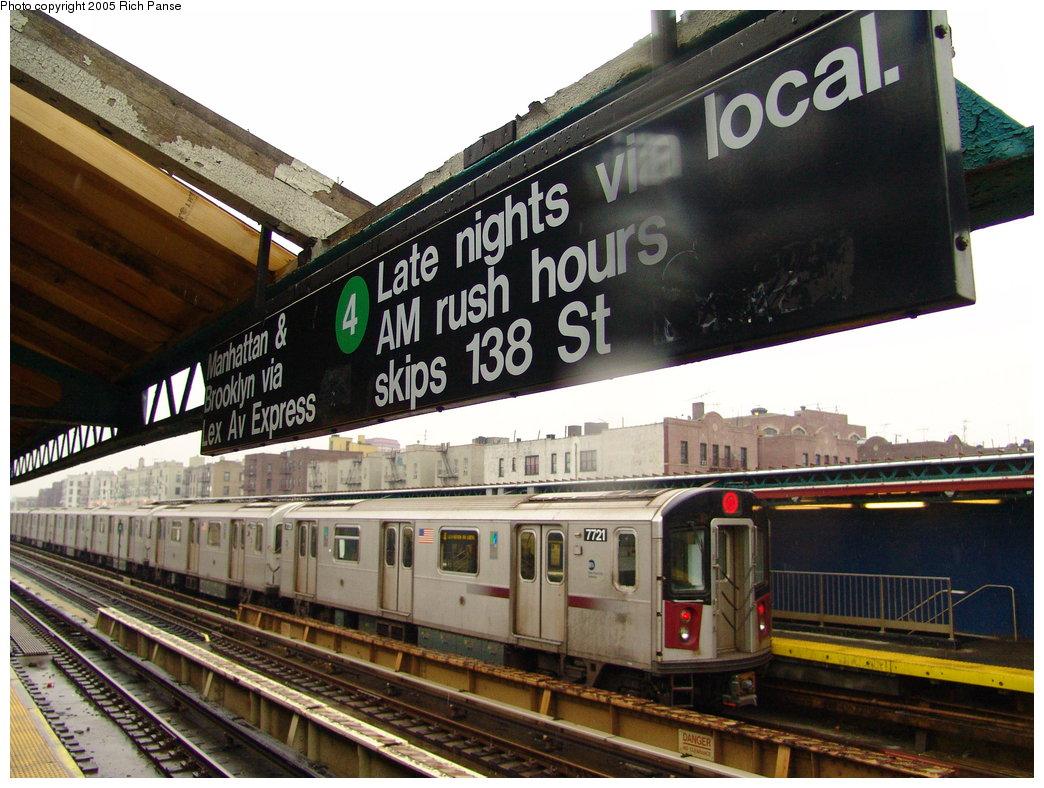 (215k, 1044x788)<br><b>Country:</b> United States<br><b>City:</b> New York<br><b>System:</b> New York City Transit<br><b>Line:</b> IRT Woodlawn Line<br><b>Location:</b> 170th Street <br><b>Route:</b> 4<br><b>Car:</b> R-142A (Option Order, Kawasaki, 2002-2003)  7721 <br><b>Photo by:</b> Richard Panse<br><b>Date:</b> 3/20/2005<br><b>Viewed (this week/total):</b> 0 / 6047