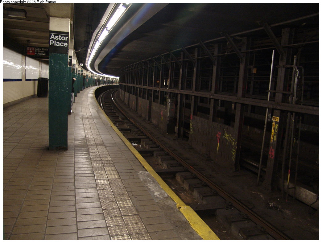 (169k, 1044x788)<br><b>Country:</b> United States<br><b>City:</b> New York<br><b>System:</b> New York City Transit<br><b>Line:</b> IRT East Side Line<br><b>Location:</b> Astor Place <br><b>Photo by:</b> Richard Panse<br><b>Date:</b> 3/22/2005<br><b>Viewed (this week/total):</b> 0 / 6293