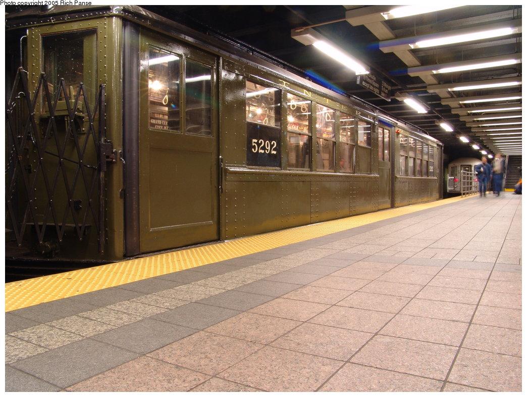 (213k, 1044x788)<br><b>Country:</b> United States<br><b>City:</b> New York<br><b>System:</b> New York City Transit<br><b>Line:</b> IRT Times Square-Grand Central Shuttle<br><b>Location:</b> Grand Central <br><b>Route:</b> Fan Trip<br><b>Car:</b> Low-V (Museum Train) 5292 <br><b>Photo by:</b> Richard Panse<br><b>Date:</b> 3/20/2005<br><b>Viewed (this week/total):</b> 0 / 2609