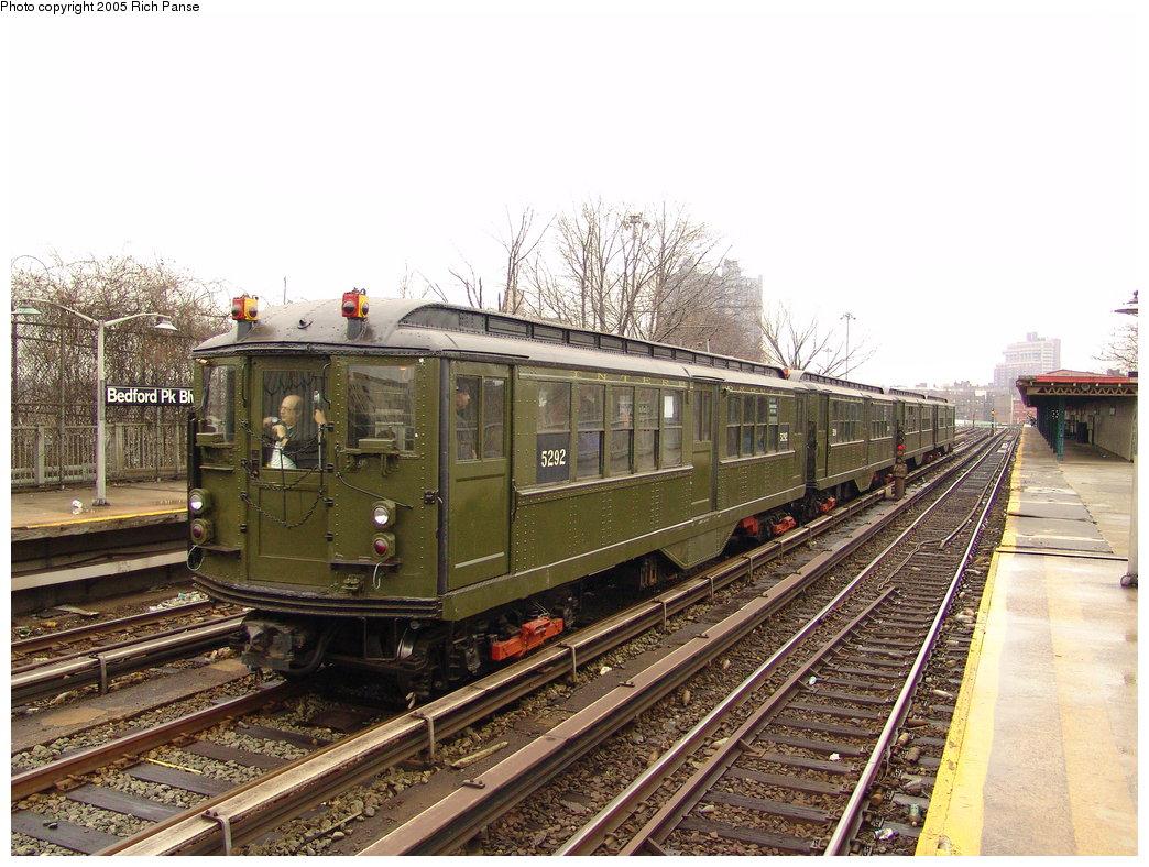 (225k, 1044x788)<br><b>Country:</b> United States<br><b>City:</b> New York<br><b>System:</b> New York City Transit<br><b>Line:</b> IRT Woodlawn Line<br><b>Location:</b> Bedford Park Boulevard <br><b>Route:</b> Fan Trip<br><b>Car:</b> Low-V (Museum Train) 5292 <br><b>Photo by:</b> Richard Panse<br><b>Date:</b> 3/20/2005<br><b>Viewed (this week/total):</b> 0 / 2476