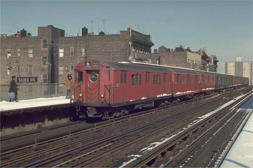 (219k, 1024x680)<br><b>Country:</b> United States<br><b>City:</b> New York<br><b>System:</b> New York City Transit<br><b>Line:</b> IRT Pelham Line<br><b>Location:</b> Elder Avenue <br><b>Route:</b> 6<br><b>Car:</b> R-17 (St. Louis, 1955-56) 6823 <br><b>Photo by:</b> Joe Testagrose<br><b>Date:</b> 3/30/1970<br><b>Viewed (this week/total):</b> 2 / 4250