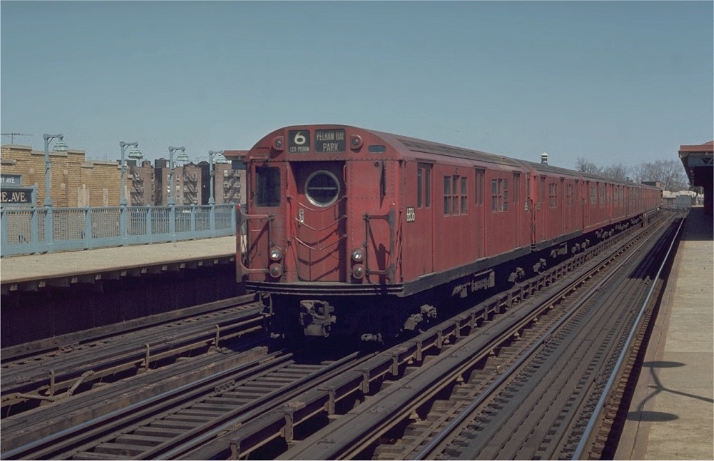 (156k, 1024x661)<br><b>Country:</b> United States<br><b>City:</b> New York<br><b>System:</b> New York City Transit<br><b>Line:</b> IRT Pelham Line<br><b>Location:</b> Buhre Avenue <br><b>Route:</b> 6<br><b>Car:</b> R-17 (St. Louis, 1955-56) 6836 <br><b>Photo by:</b> Joe Testagrose<br><b>Date:</b> 4/12/1970<br><b>Viewed (this week/total):</b> 1 / 2936