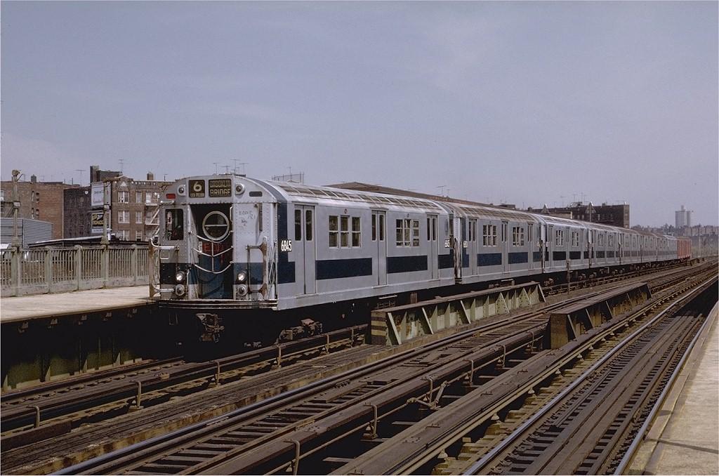 (204k, 1024x678)<br><b>Country:</b> United States<br><b>City:</b> New York<br><b>System:</b> New York City Transit<br><b>Line:</b> IRT Pelham Line<br><b>Location:</b> Whitlock Avenue <br><b>Route:</b> 6<br><b>Car:</b> R-17 (St. Louis, 1955-56) 6845 <br><b>Photo by:</b> Joe Testagrose<br><b>Date:</b> 5/6/1972<br><b>Viewed (this week/total):</b> 0 / 2566