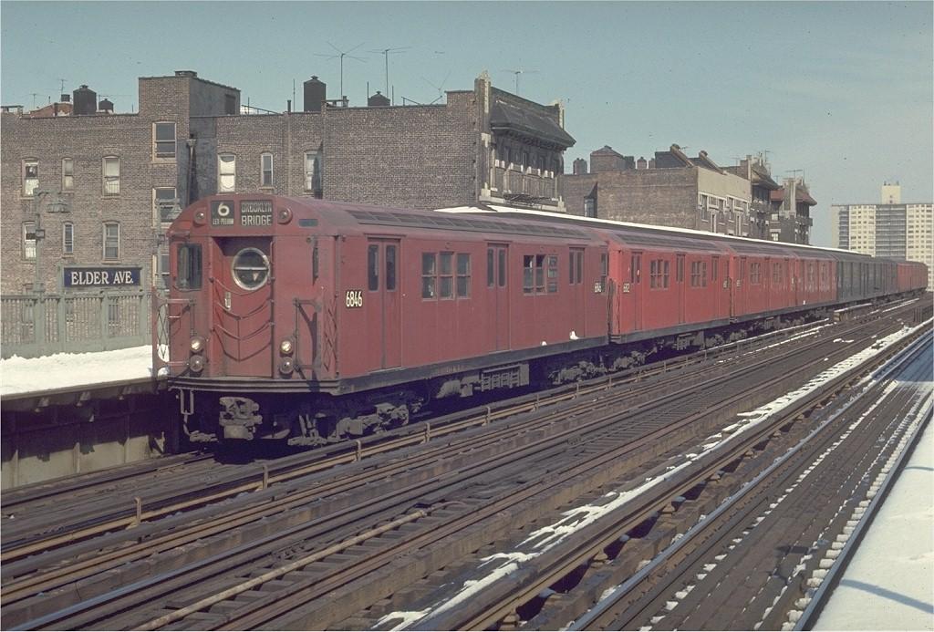 (224k, 1024x693)<br><b>Country:</b> United States<br><b>City:</b> New York<br><b>System:</b> New York City Transit<br><b>Line:</b> IRT Pelham Line<br><b>Location:</b> Elder Avenue <br><b>Route:</b> 6<br><b>Car:</b> R-17 (St. Louis, 1955-56) 6846 <br><b>Photo by:</b> Joe Testagrose<br><b>Date:</b> 3/30/1970<br><b>Viewed (this week/total):</b> 1 / 2397
