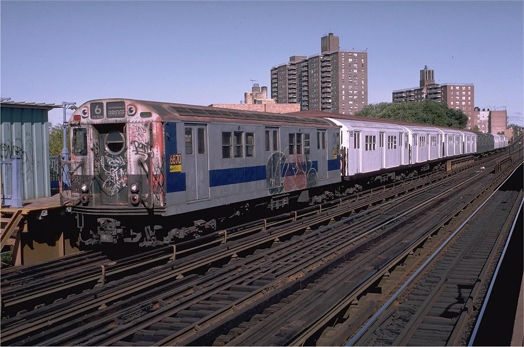 (239k, 1024x679)<br><b>Country:</b> United States<br><b>City:</b> New York<br><b>System:</b> New York City Transit<br><b>Line:</b> IRT Pelham Line<br><b>Location:</b> Middletown Road <br><b>Route:</b> 6<br><b>Car:</b> R-17 (St. Louis, 1955-56) 6870 <br><b>Photo by:</b> Doug Grotjahn<br><b>Collection of:</b> Joe Testagrose<br><b>Date:</b> 10/17/1982<br><b>Viewed (this week/total):</b> 12 / 3640