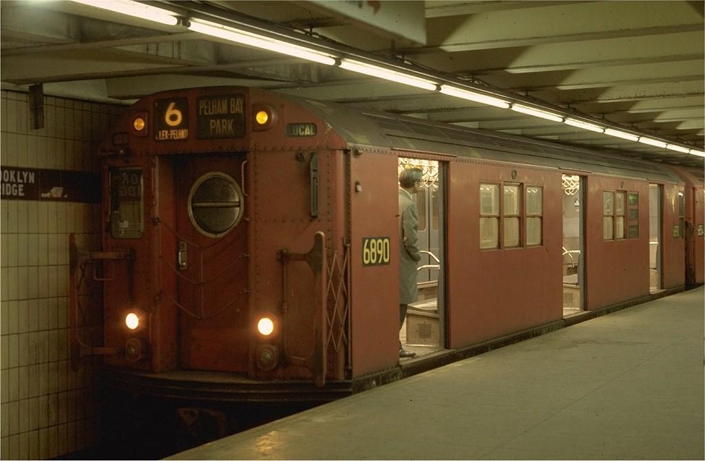 (151k, 1024x670)<br><b>Country:</b> United States<br><b>City:</b> New York<br><b>System:</b> New York City Transit<br><b>Line:</b> IRT East Side Line<br><b>Location:</b> Brooklyn Bridge/City Hall <br><b>Route:</b> 6<br><b>Car:</b> R-17 (St. Louis, 1955-56) 6890 <br><b>Photo by:</b> Joe Testagrose<br><b>Date:</b> 3/30/1970<br><b>Viewed (this week/total):</b> 0 / 3131