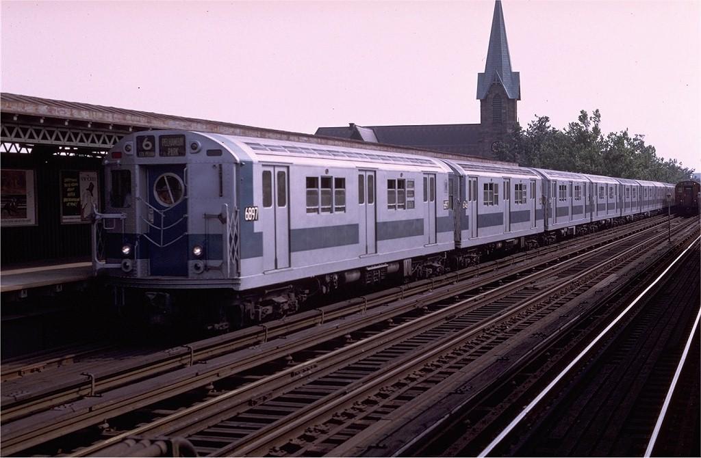 (179k, 1024x670)<br><b>Country:</b> United States<br><b>City:</b> New York<br><b>System:</b> New York City Transit<br><b>Line:</b> IRT Pelham Line<br><b>Location:</b> Westchester Square <br><b>Route:</b> 6<br><b>Car:</b> R-17 (St. Louis, 1955-56) 6897 <br><b>Photo by:</b> Joe Testagrose<br><b>Date:</b> 7/11/1970<br><b>Viewed (this week/total):</b> 0 / 2961