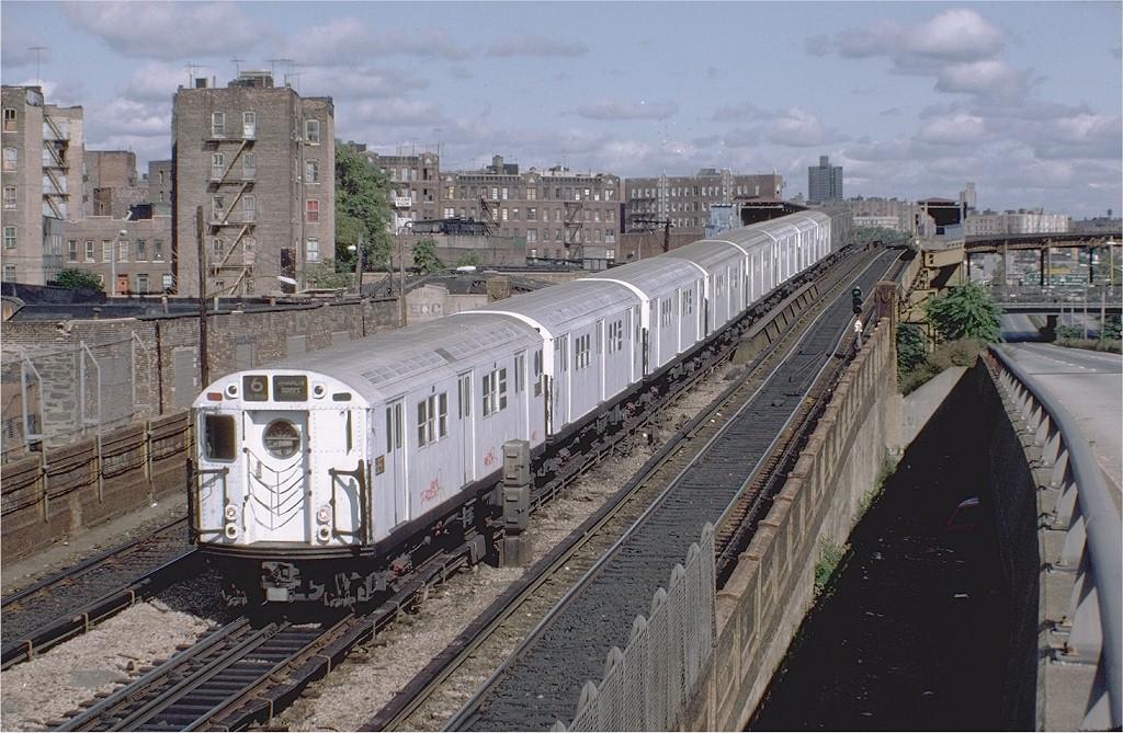(232k, 1024x669)<br><b>Country:</b> United States<br><b>City:</b> New York<br><b>System:</b> New York City Transit<br><b>Line:</b> IRT Pelham Line<br><b>Location:</b> Whitlock Avenue <br><b>Route:</b> 6<br><b>Car:</b> R-17 (St. Louis, 1955-56) 6897 <br><b>Photo by:</b> Steve Zabel<br><b>Collection of:</b> Joe Testagrose<br><b>Date:</b> 10/16/1982<br><b>Viewed (this week/total):</b> 6 / 7694