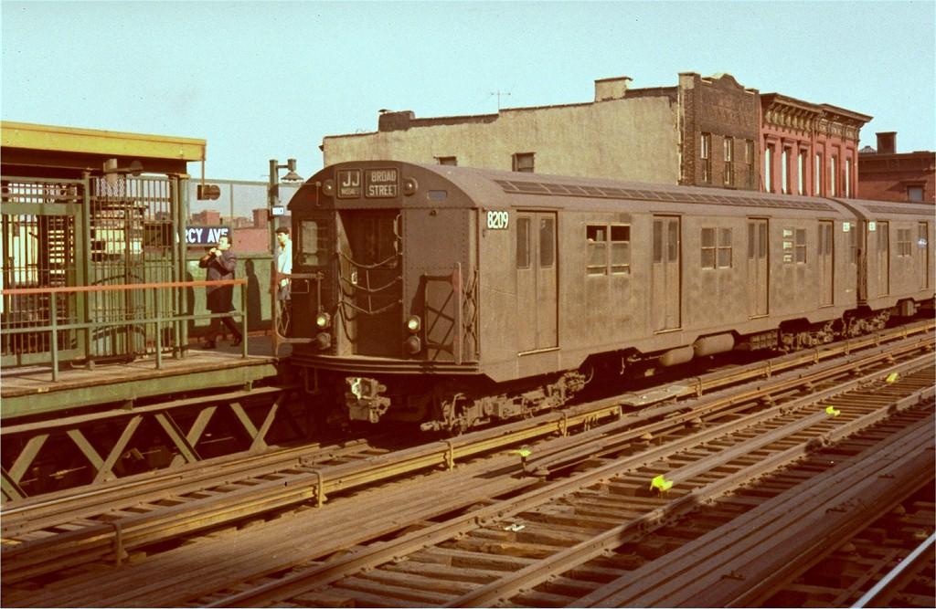 (206k, 1024x667)<br><b>Country:</b> United States<br><b>City:</b> New York<br><b>System:</b> New York City Transit<br><b>Line:</b> BMT Nassau Street/Jamaica Line<br><b>Location:</b> Marcy Avenue <br><b>Route:</b> J<br><b>Car:</b> R-27 (St. Louis, 1960)  8209 <br><b>Photo by:</b> Steve Zabel<br><b>Collection of:</b> Joe Testagrose<br><b>Viewed (this week/total):</b> 1 / 3022