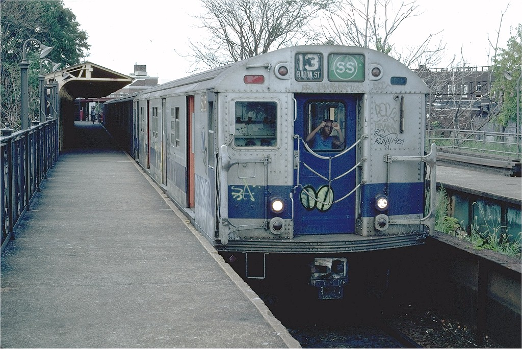 (261k, 1024x685)<br><b>Country:</b> United States<br><b>City:</b> New York<br><b>System:</b> New York City Transit<br><b>Line:</b> BMT Franklin<br><b>Location:</b> Franklin Avenue <br><b>Route:</b> Franklin Shuttle<br><b>Car:</b> R-27 (St. Louis, 1960)  8225 <br><b>Photo by:</b> Steve Zabel<br><b>Collection of:</b> Joe Testagrose<br><b>Date:</b> 7/25/1981<br><b>Viewed (this week/total):</b> 0 / 3565