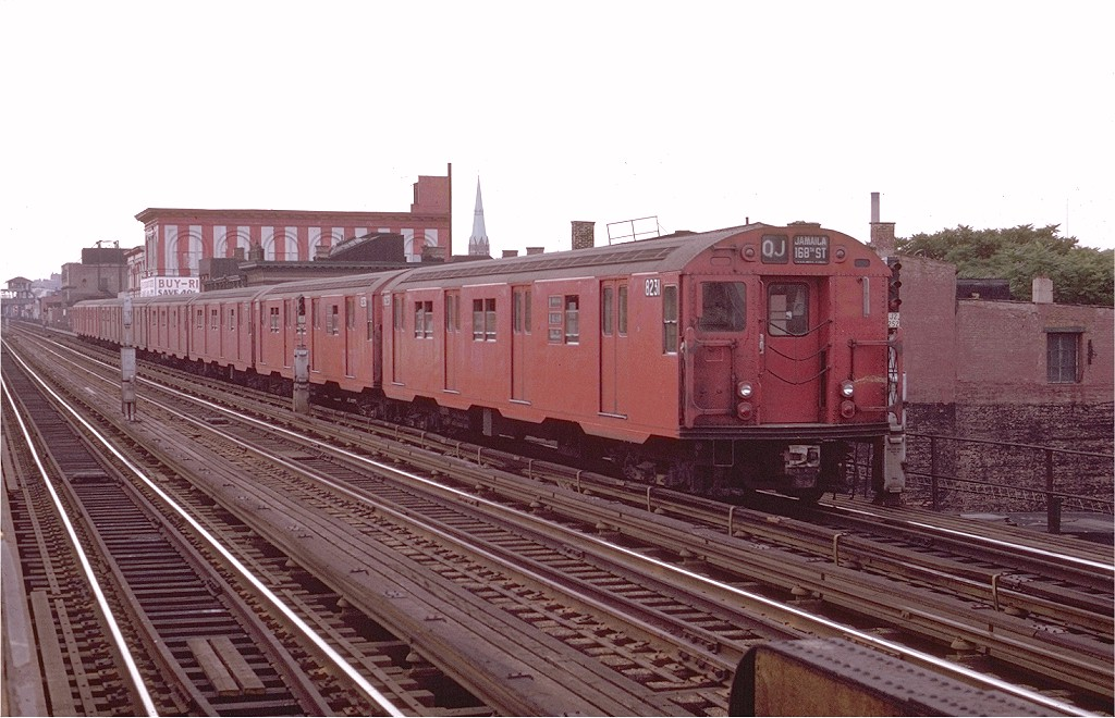 (187k, 1024x660)<br><b>Country:</b> United States<br><b>City:</b> New York<br><b>System:</b> New York City Transit<br><b>Line:</b> BMT Nassau Street/Jamaica Line<br><b>Location:</b> Kosciuszko Street <br><b>Route:</b> QJ<br><b>Car:</b> R-27 (St. Louis, 1960)  8231 <br><b>Photo by:</b> Joe Testagrose<br><b>Date:</b> 6/9/1970<br><b>Viewed (this week/total):</b> 3 / 2993