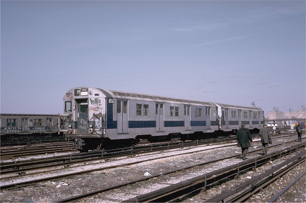 (225k, 1024x680)<br><b>Country:</b> United States<br><b>City:</b> New York<br><b>System:</b> New York City Transit<br><b>Location:</b> Coney Island Yard<br><b>Car:</b> R-27 (St. Louis, 1960)  8242 <br><b>Photo by:</b> Steve Zabel<br><b>Collection of:</b> Joe Testagrose<br><b>Date:</b> 3/20/1974<br><b>Viewed (this week/total):</b> 0 / 2463