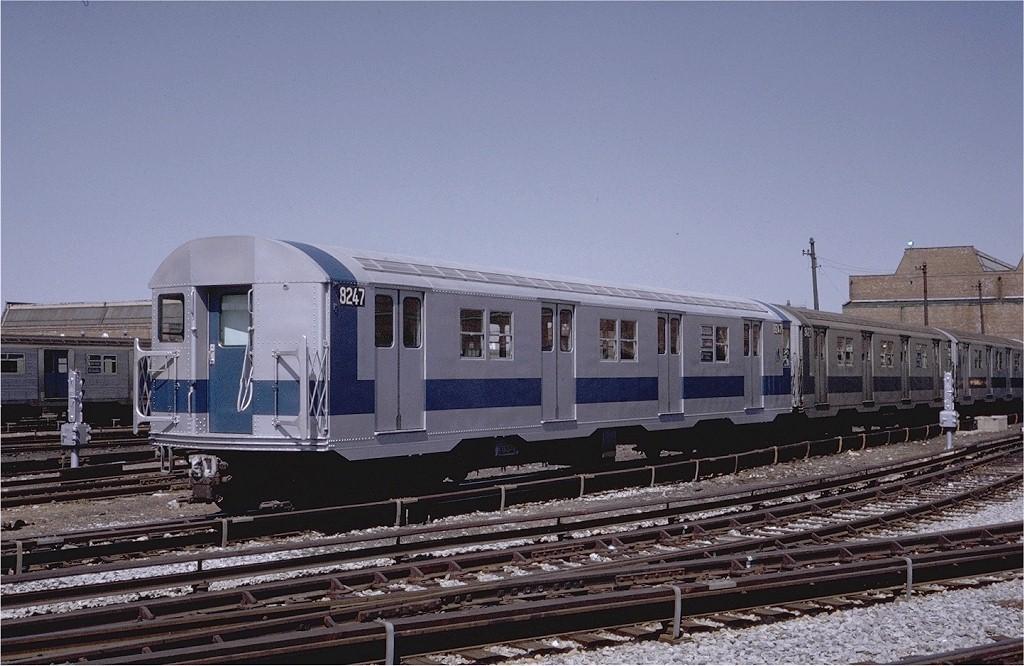(199k, 1024x666)<br><b>Country:</b> United States<br><b>City:</b> New York<br><b>System:</b> New York City Transit<br><b>Location:</b> Coney Island Yard<br><b>Car:</b> R-27 (St. Louis, 1960)  8247 <br><b>Photo by:</b> Steve Zabel<br><b>Collection of:</b> Joe Testagrose<br><b>Date:</b> 4/8/1971<br><b>Viewed (this week/total):</b> 1 / 2475