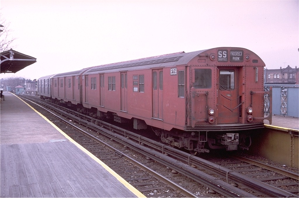 (179k, 1024x678)<br><b>Country:</b> United States<br><b>City:</b> New York<br><b>System:</b> New York City Transit<br><b>Line:</b> BMT Franklin<br><b>Location:</b> Dean Street <br><b>Route:</b> Franklin Shuttle<br><b>Car:</b> R-30 (St. Louis, 1961) 8358 <br><b>Photo by:</b> Doug Grotjahn<br><b>Collection of:</b> Joe Testagrose<br><b>Date:</b> 11/28/1970<br><b>Viewed (this week/total):</b> 3 / 3784