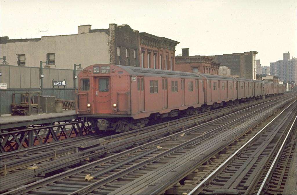 (190k, 1024x674)<br><b>Country:</b> United States<br><b>City:</b> New York<br><b>System:</b> New York City Transit<br><b>Line:</b> BMT Nassau Street/Jamaica Line<br><b>Location:</b> Marcy Avenue <br><b>Route:</b> QJ<br><b>Car:</b> R-30 (St. Louis, 1961) 8360 <br><b>Photo by:</b> Joe Testagrose<br><b>Date:</b> 3/28/1970<br><b>Viewed (this week/total):</b> 0 / 2314