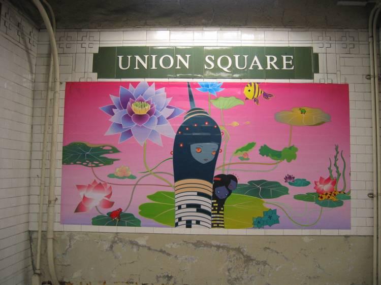(50k, 750x562)<br><b>Country:</b> United States<br><b>City:</b> New York<br><b>System:</b> New York City Transit<br><b>Line:</b> BMT Broadway Line<br><b>Location:</b> 14th Street/Union Square <br><b>Photo by:</b> Robbie Rosenfeld<br><b>Date:</b> 5/17/2005<br><b>Artwork:</b> <i>City Glow</i>, Chiho Aoshima (2005).<br><b>Viewed (this week/total):</b> 0 / 7123