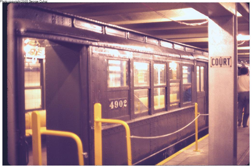 (177k, 1044x698)<br><b>Country:</b> United States<br><b>City:</b> New York<br><b>System:</b> New York City Transit<br><b>Location:</b> New York Transit Museum<br><b>Car:</b> Low-V 4902 <br><b>Photo by:</b> George Cuhaj<br><b>Date:</b> 7/2/1976<br><b>Viewed (this week/total):</b> 0 / 3427